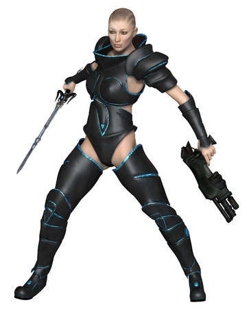 Science fiction illustration of a mystic future warrior priestess with sword and gun, 3d digitally rendered illustration