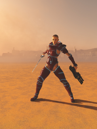 Science fiction illustration of a mystic future warrior priestess with sword and gun on a desert planet, 3d digitally rendered illustration