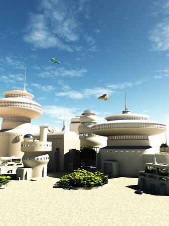 Science fiction illustration of futuristic buildings in a town square on a bright sunny day, 3d digitally rendered illustration