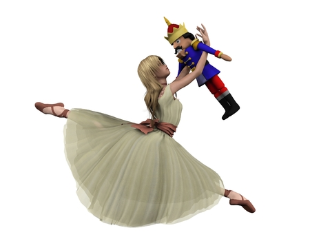 Illustration of Clara and the toy Nutcracker Doll from the Christmas ballet The Nutcracker, 3d digitally rendered illustration