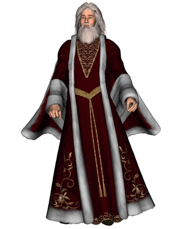 Illustration of a traditional Father Christmas or Santa Claus, 3d digitally rendered illustration