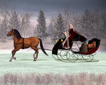Illustration of a traditional Father Christmas in a horse drawn sleigh, 3d digitally rendered illustration 新聞圖片