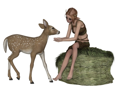 Fantasy illustration of a cute shy forest elf or faun with pointed ears and antlers sitting on a grassy rock talking to a young deer, 3d digitally rendered illustration Stock Photo