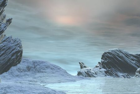 Illustration of a frozen winter landscape covered in snow and ice, 3d digitally rendered illustration