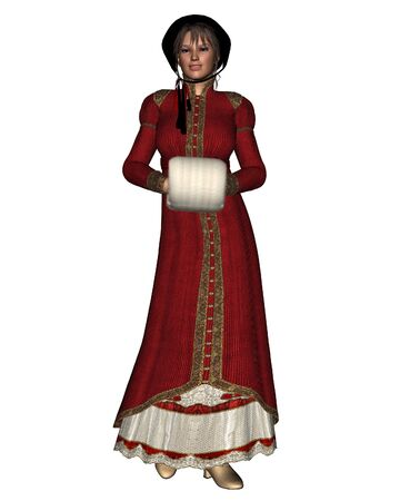 Illustration of a woman in Christmas themed clothing of the Regency Period, 3d digitally rendered illustration