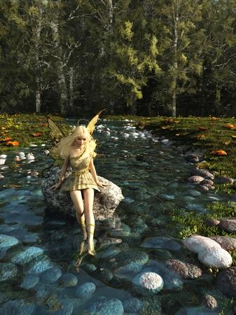 岩の上に座って、デジタル フォレスト ストリーム、3 d で彼女の足を漕ぐかなりブロンドの妖精のファンタジー イラスト描画図