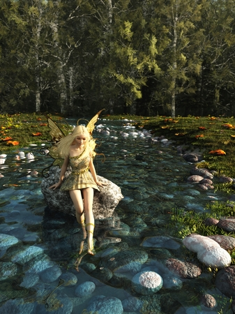 Fantasy illustration of a pretty blonde fairy sitting on a rock and paddling her feet in a forest stream, 3d digitally rendered illustration