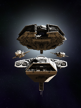 Science fiction illustration of a deep space battle fleet of four spaceships in formation, 3d digitally rendered illustration