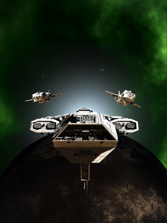Science fiction illustration of a deep space battle fleet of three spaceships in formation passing a dark planet through a green nebula, 3d digitally rendered illustration Фото со стока