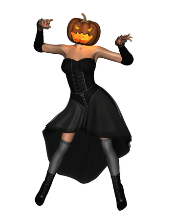 Fantasy illustration of a woman with a pumpkin lantern head for Halloween, 3d digitally rendered illustration
