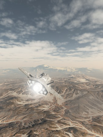 Science fiction illustration of a spaceship inside the atmosphere flying over the snowy mountains of an alien planet, 3d digitally rendered illustration