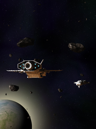 Science fiction illustration of two spaceships passing through an asteroid field above a blue green planet, 3d digitally rendered illustration