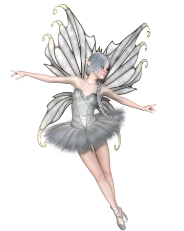 Fantasy illustration of a Ballerina Winter Fairy with silver wings and a white tutu, 3d digitally rendered illustration