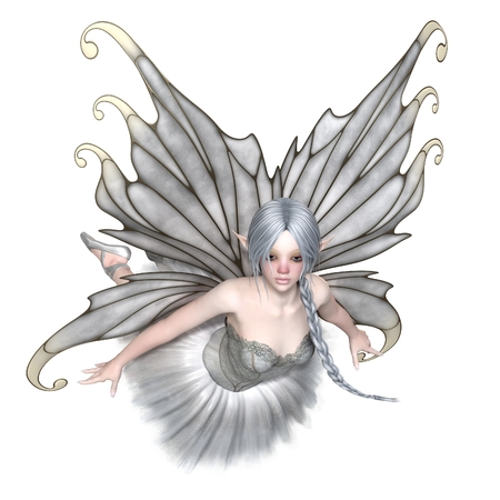 Fantasy illustration of a flying Ballerina Winter Fairy with silver wings and a white tutu, 3d digitally rendered illustration