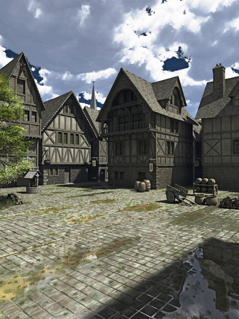 Illustration of a town square in the centre of a Medieval or fantasy style European town with church spire in the distance, 3d digitally rendered illustration
