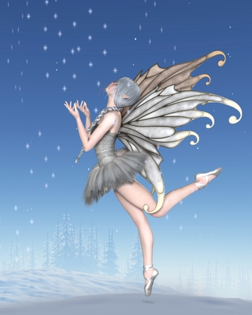Fantasy illustration of a Ballerina Winter Fairy with silver wings and a white tutu dancing with snowflakes in a winter landscape, 3d digitally rendered illustration