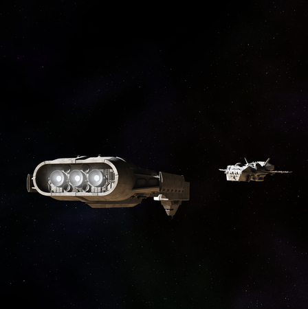 Science fiction illustration of two spaceships meeting in the darkness of outer space, 3d digitally rendered illustration