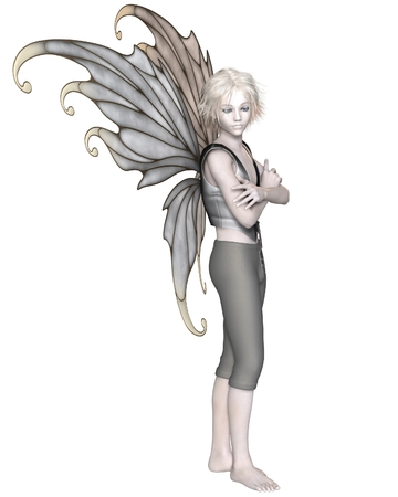 Fantasy illustration of a winter fairy boy with silver wings, 3d digitally rendered illustration