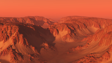 Science fiction illustration of an imaginary mountain canyon landscape on Mars with red sky, 3d digitally rendered illustration