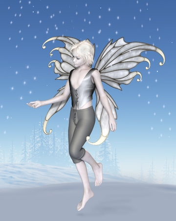 Fantasy illustration of a winter fairy boy with silver wings and sparkling snowflakes in a snowy landscape, 3d digitally rendered illustration