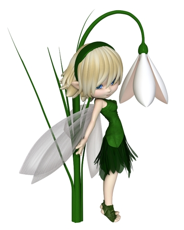 Cute toon blonde snowdrop fairy in a green leafy dress standing by a spring snowdrop flower, 3d digitally rendered illustration