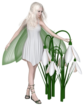 Fantasy illustration of a pretty white haired fairy standing with a group of snowdrop flowers, 3d digitally rendered illustration Stock Photo