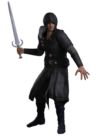 Fantasy illustration of a rogue swordsman dressed in leather armour advancing to attack, 3d digitally rendered illustration