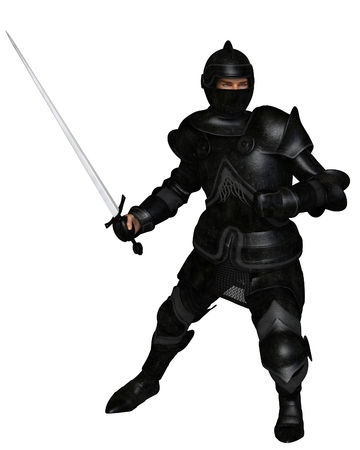 Fantasy illustration of a black knight in Medieval armour holding a sword and ready to attack, 3d digitally rendered illustration