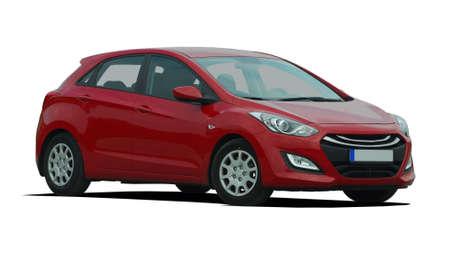 hatchback: red passenger car Editorial