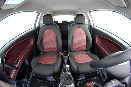 front car seats photographed with fish eye photo