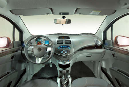 the inside of the car, front view photo