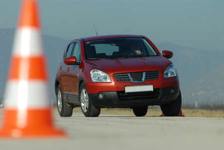 dynamic test car on a polygon with cones photo