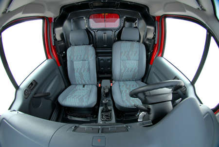 seats in the van photographed with fish eye photo
