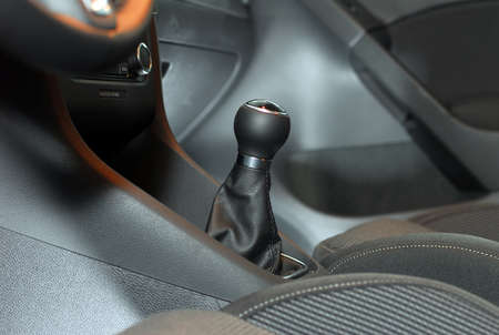 Detail of the interior of the car with the gear shifter photo
