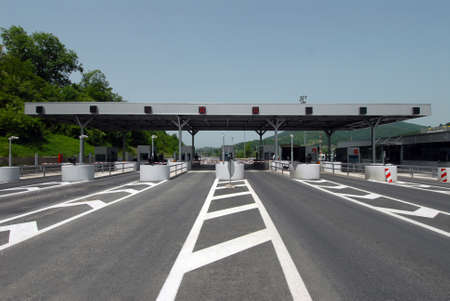 expressway: New Toll station on a highway Stock Photo