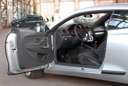 Interior of new luxury sports car photo