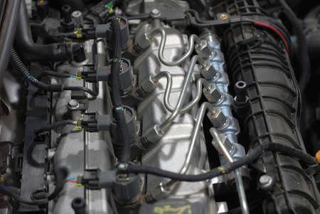 Close up shot of common rail diesel engine Standard-Bild