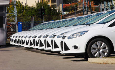 white cars are lined up in the parking lot in one line Archivio Fotografico