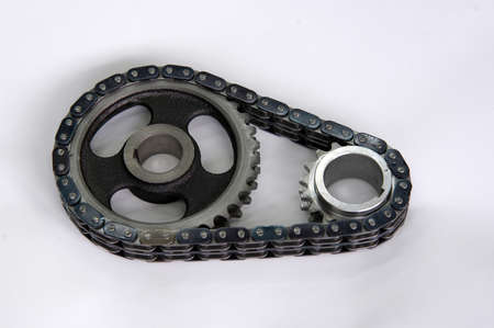 sprockets: chain and two sprockets from car engine