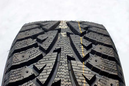 part of the modern new winter tires photographed in the studio