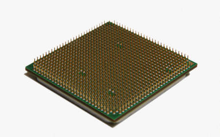 microcontroller: Cpu processor isolated on white Stock Photo