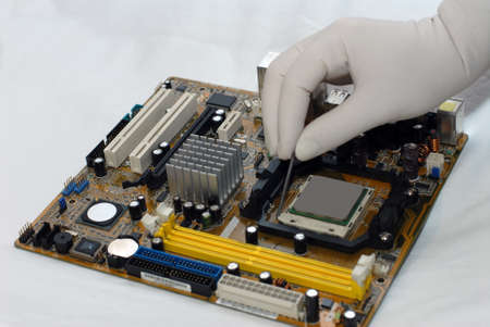 crimped: installing Central processor Stock Photo