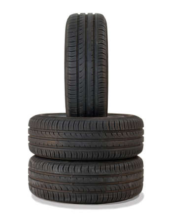 vulcanization: summer tires isolated on white background