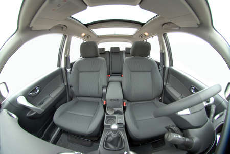 front car seats photographed with fish eye 스톡 콘텐츠