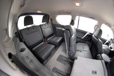 The black rear seats in the SUV photo