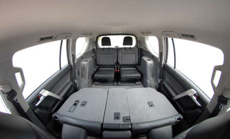 The rear seats in the SUV photo