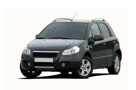 black mini SUV on a white background