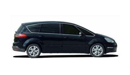 zwarte minivan op een witte achtergrond