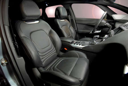 Front Leather seats of a luxury car Stock Photo