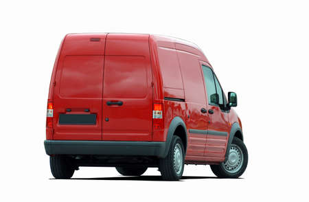 red delivery van back view Stock Photo